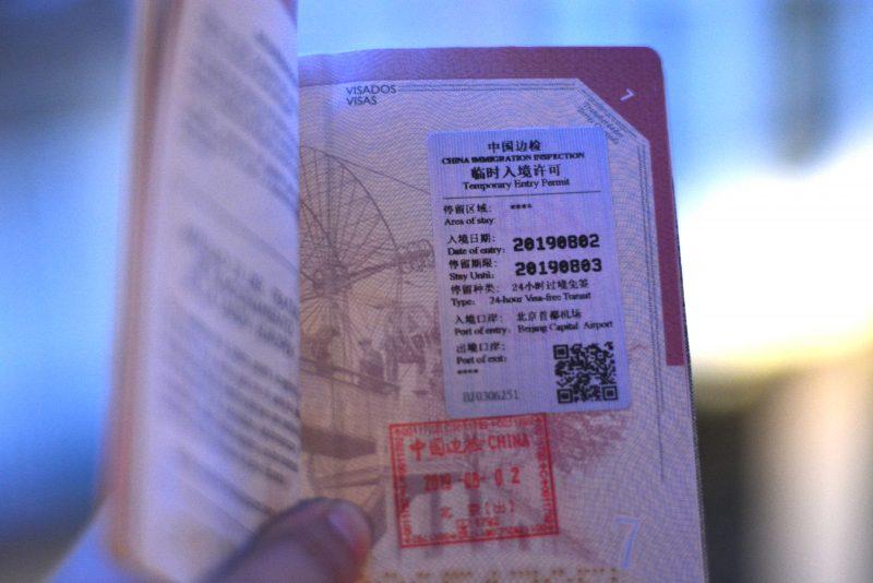 visado de tránsito de chino